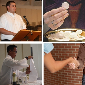 (Clockwise L to R) Lector, Extraordinary Minister for the Eucharist, Acolyte, and Minister of Hospitality.