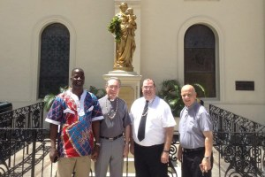 Members of the General Administration (L to R):  Bro. Maximin Magnan, S.M. , Assistant for Education; Very Rev. Manuel Cortés, S.M., Superior General; Bro. Michael McAward, S.M., Assistant for Temporalities; included is Rev. George Cerniglia, Rector and Chaplain of Chaminade University. Not pictured: Rev. André Fétis, S.M., Assistant for Religious Life. Photo Credit: Cathedral-Basilica of Our Lady of Peace