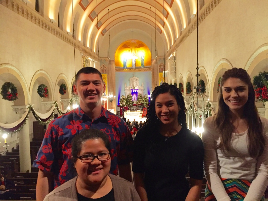 Our students after Mass on the first day of their immersion experience in Los Angeles, California.